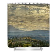 Clouds And Sun Rays Over Mount Hood And Hood River Oregon Shower Curtain