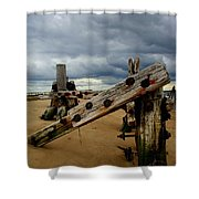 Clouds And Wooden Structure Shower Curtain