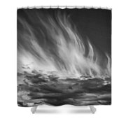 Clouds - Flame Shape - Black And White Shower Curtain