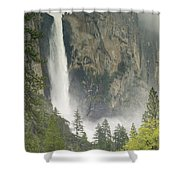 Clouds Hang Over Bridaveil Falls Shower Curtain