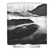 Maui Hawaii Haleakala National Park Clouds In Haleakala Crater Shower Curtain