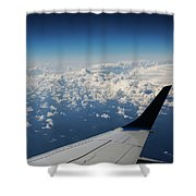 Clouds Under An Airplane Wing Shower Curtain