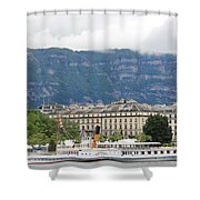 Clouds Mountains Building A Ship Shower Curtain