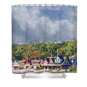 Clouds Over Boathouse Row Shower Curtain