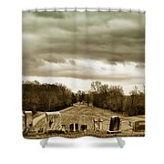 Clouds Over Cemetery Shower Curtain