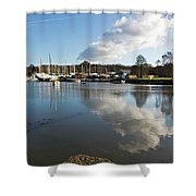 Clouds Over Cockwells Boatyard Mylor Bridge Shower Curtain