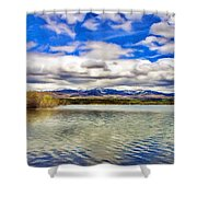 Clouds Over Distant Mountains Shower Curtain