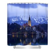 Clouds Over Lake Bled Shower Curtain