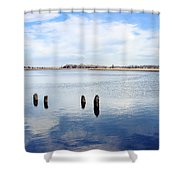 Clouds Over The Mullica River Shower Curtain