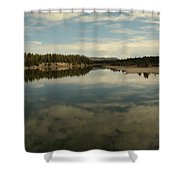Clouds Reflecting In An Alpine Lake.  Shower Curtain