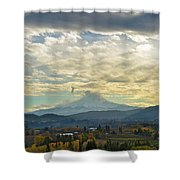 Cloudy Day Over Mount Hood At Hood River Oregon Shower Curtain