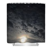 cloudy Full Moon Shower Curtain