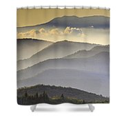 Cloudy Layers On The Blue Ridge Parkway - Nc Sunrise Scene Shower Curtain by Rob Travis