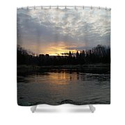 Cloudy Mississippi River Sunrise Shower Curtain