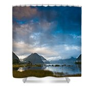 Cloudy Morning At Milford Sound At Sunrise Shower Curtain