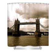 Cloudy Over Tower Bridge Shower Curtain