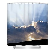 Cloudy Sky Over Mountains Silhouette At Sunset Shower Curtain