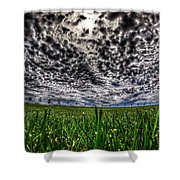 Cloudy Sky's Grassy Field Shower Curtain
