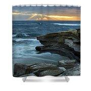 Cloudy Sunset At La Jolla Shores Beach Shower Curtain