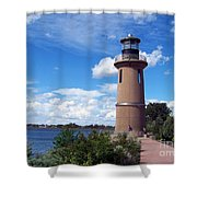 Clover Island Lighthouse Shower Curtain by Charles Robinson