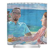 Clovis And Bethany At Tobacco Bay, Bermuda Shower Curtain