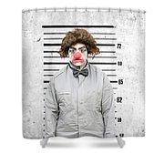 Clown Mug Shot Shower Curtain