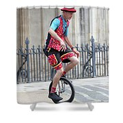 Clown Riding Unicycle In Town Shower Curtain