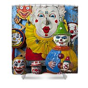 Clown Toys Shower Curtain by Garry Gay