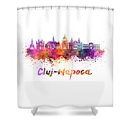Cluj-napoca Skyline In Watercolor Splatter Shower Curtain