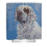 Clumber Spaniel In Snow Shower Curtain