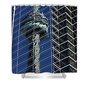 Cn Tower Reflected In A Glass Highrise Shower Curtain