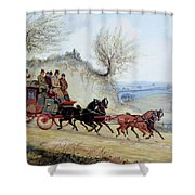 Coaching Oil Of A Royal Mail Coach Crossing Landscape Shower Curtain