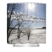 Coal Fired Power Plant In Winter Shower Curtain