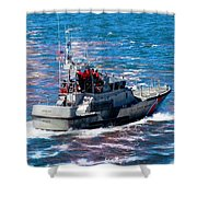 Coast Guard Out To Sea Shower Curtain by Aaron Berg