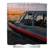 Coast Guard Response Boat At Sunset Shower Curtain