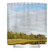 Coast Of Summer Lake Shined With Sun Beams Shower Curtain