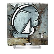 Coastal Art Contemporary Sailboat Painting Whimsical Design Silver Sea I By Madart Shower Curtain