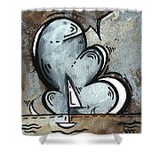 Coastal Art Contemporary Sailboat Painting Whimsical Design Silver Sea II By Madart Shower Curtain