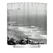 Coastal Bandw Shower Curtain