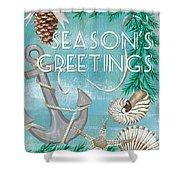 Coastal Christmas Card Shower Curtain