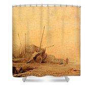 Coastal Landscape With Fisherfolk Shower Curtain
