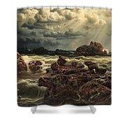 Coastal Landscape With Ships On The Horizon Shower Curtain