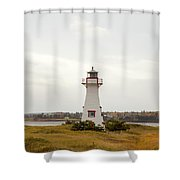 Coastal Lighhouse In Marshes, Prince Edward Island, Canada Shower Curtain
