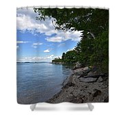 Coastal Maine's Rocky Shore On A Beautiful Summer Day Shower Curtain
