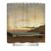 Coastal Scene With A Man And A Dog Shower Curtain