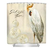 Coastal Waterways - Great Blue Heron Shower Curtain
