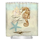 Coastal Waterways - Seahorse Rectangle 2 Shower Curtain