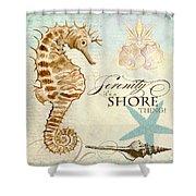 Coastal Waterways - Seahorse Serenity Shower Curtain