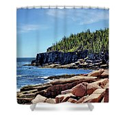 Coastline And Otter Cliff 3 Shower Curtain