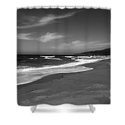 Coastline Black And White Shower Curtain